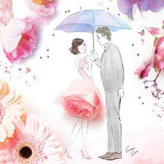 Романтични илюстрации на влюбени двойки