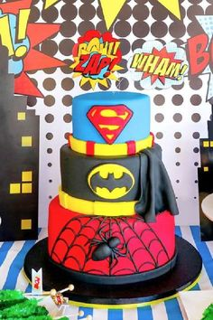Check out this awesome superhero birthday party! The cake is a blast! See more party ideas and share yours at CatchMyParty.com Birthday Party Themes, Birthday Cake, Celebrations, Desserts, Kids, Party Ideas, Food, Tailgate Desserts, Young Children