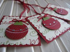 Sweet Christmas Ornament Tags | Flickr - Photo Sharing! Christmas Paper Crafts, Christmas Cards To Make, Christmas Gift Wrapping, Xmas Cards, Handmade Christmas, Holiday Crafts, Christmas Ornaments, Handmade Gift Tags, Cricut
