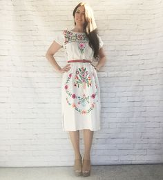 Vintage 70s White Rainbow Embroidered Oaxacan Mexican Peasant Midi Dress M Puff Sleeves Side Slits Festival Fashion by PopFizzVintage on Etsy