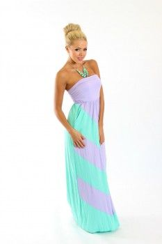 Lilac and Mint Cinched Chevron Maxi