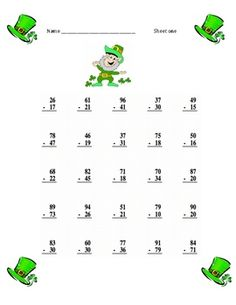 This St. Patrick's day two- digit math subtraction with regrouping practice worksheet has THREE different worksheets with 20- 25 problems on each A...