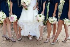 Bridesmaid shoes in silver.
