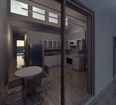 Perspective into Kitchen of small house (created in Revit)
