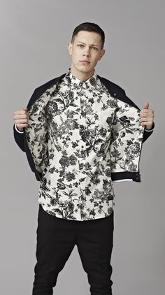 floral | Black and White | Men's Fashion | Menswear | Men's Casual Outfit for Spring/Summer | Moda Masculina | Shop at designerclothingfans.com
