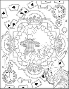 Creative Haven Alice in Wonderland Designs Coloring Book -- 6 sample pages