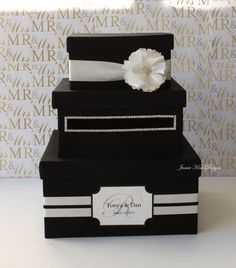 Wedding Card Box DIY- Stack the boxes, cut 'em out, paint, and decorate!