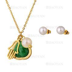 juego collar y aretes de perla blanca con piedra verde ,mano dorado acero inoxidable-SSNEG1093694
