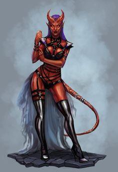 f Tiefling Warlock Leather Armor Potion female urban City by NeexSethe lg Fantasy Girl, Fantasy Art Women, Fantasy Races, Fantasy Warrior, Dark Fantasy Art, Fantasy Artwork, Character Portraits, Character Art, Fantasy Characters
