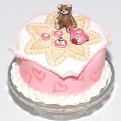 Teddy Bear Picnic Cake w/ Tea Set   Stewart Dollhouse Creations