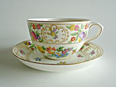 Tea Cup and Saucer Hammersely Dresden Sprays Teacup and Sauce England by TreasureCoveAlly on Etsy