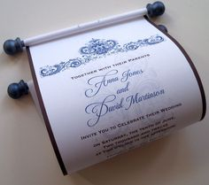 Wedding invitation scroll with antique flowers damask, set of 5 scrolls