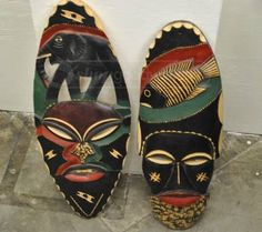 Vintage Wood African Tribal Masks