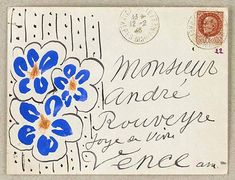 art postal danielatieni: by Henri Matisse Henri Matisse, Envelope Art, Envelope Design, Letter Art, French Artists, Mail Art, Hand Lettering, Typography Letters, Art Photography