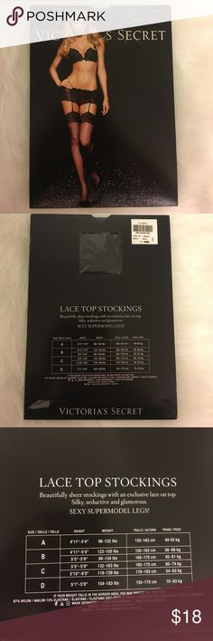 Victoria's Secret Lace Top Stockings Lace Top Stockings • beautifully sheer stockings with an exclusive lace on top • Silky, seductive and glamorous • Sexy supermodel legs! • Black • Two size C available listed as Large • One Size B available listed as medium Victoria's Secret Intimates & Sleepwear Chemises & Slips