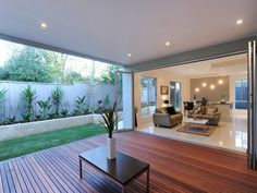 Outdoor living ideas Lovely inside/outside concept with definitive areas delineated by flooring Outdoor Living Rooms, Outside Living, Alfresco Designs, Patio Design, House Design, Backyard Patio, Wedding Backyard, Backyard Landscaping, Outdoor Areas