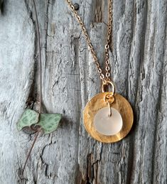 Gold Coin Necklace, Sea Glass Necklace, Washer Necklace, Diffuser Jewelry, Jewelry Necklaces, Jewellery, Recycled Jewelry, Hammered Gold, Delicate Jewelry