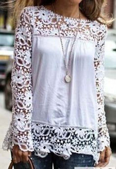 Charming Long Sleeve Round Neck White T Shirt