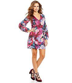 Gianni Bini Emma VNeck Long Sleeve Floral ALine Dress #Dillards