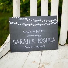 Save the Date postcard  Chalkboard with strung by inoroutmedia, $2.60