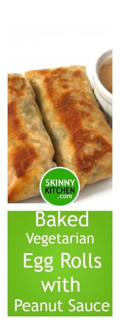 Skinny Baked Vegetarian Egg Rolls with Peanut Sauce. Amazingly delicious! Each has 117 cal, 3g fat & 3 SmartPoints. Two are perfect for dinner. #vegetarian #smartpoints https://www.skinnykitchen.com/recipes/skinny-baked-vegetarian-egg-rolls-with-peanut-sauce/