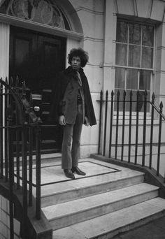 Jimi Hendrix outside his London home, 1967