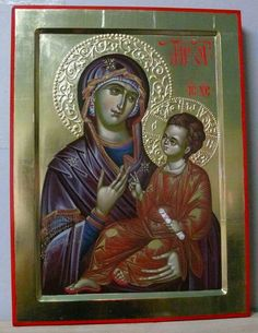 Hand Painted, Painting, Blessed Virgin Mary, Art, Byzantine Icons, Art Icon, Byzantine