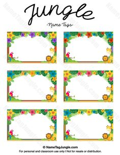 name tag template Free printable jungle name tags. The template can also be used for . Printable Name Tags, Printable Labels, Free Printables, Labels Free, Food Labels, Name Tag Templates, Label Templates, Safari Food, Jungle Safari