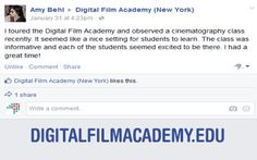 Thanks again @Amy Behl for your feedback and comments! #DigitalFilmAcademy #nyc #filmschool