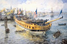 "Geoff Hunt Print - ""Launching Day, USS America"" From Geoff Hunt's spectacular series of prints depicting dramatic naval actions associated with the War of Independence and the War of 1812. The first United States battleship: Portsmouth, New Hampshire, 5 November 1782. This class of war ship was the state-of-the-art naval weapon of the late eighteenth century,  and one of the most complex engineering constructions of its day. -- on ScrimshawGallery.com #GeoffHunt #America"