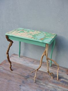 Driftwood Table, Vintage Map Side table, End table with Driftwood and Vintage Map of West Turkey, Wooden Furniture, Sea green Sidetable