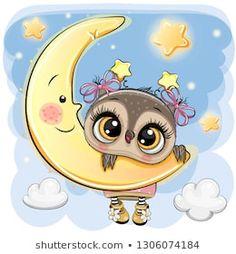 Cartoon Owl Girl on the moon. Cute Cartoon Owl Girl on the moon vector illustration Cute Owl Cartoon, Cartoon Cartoon, Cartoon Owl Drawing, Moon Cartoon, Cute Cartoon Images, Owl Png, Moon Vector, Tatty Teddy, Baby Owls
