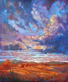 Texas Sky Hill Country Impressionism Landscape Original Oil Painting 72 x 60  Erin Hanson