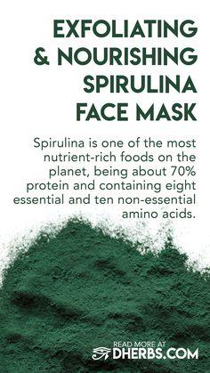 Exfoliating and Nourishing Spirulina Face Mask – Natural Skin Care Best Natural Skin Care, Organic Skin Care, Natural Beauty, Natural Face, Organic Makeup, Facial Steaming, Homemade Skin Care, Natural Cosmetics, Skin Care Tips