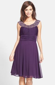 Free shipping and returns on Betsy & Adam Beaded Jersey Fit & Flare Dress at Nordstrom.com. Intricately cutout, embroidered and beaded banding forms the illusion scoop necklines atop an airy jersey dress full of flattering gathers.