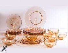 """TheCordialMagpie on Etsy: Fostoria Pioneer-Amber ? Depression Glass 20 Piece Set - Creamer Sugar Bowl and 6 (six) Cups Saucers &  8 1/2"""" Plates - Elegant Glass"""