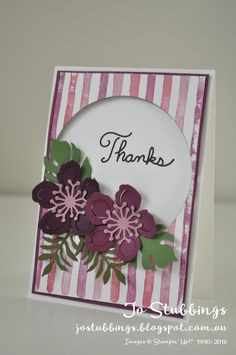 Jo's Stamping Spot - Just Add Ink #316 - using Stampin' Up! Brushstrokes background and Botanical Blooms