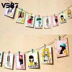 הודעה כרטיס נייר תליית מסגרת תמונה תמונת אלבום קיר אמנות בית תפאורה סגור חבל קליפ עץ קישוט בית 9 יח'\סט(China (Mainland))