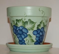 Hand Painted clay flower pot One Stroke Blue by MountBlossom