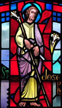 Stained glass image of St. Joseph the Worker