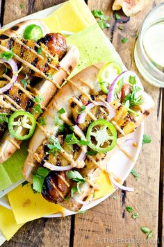 I need these #HotDogs in my life: Hawaiian Hot Dogs with Grilled Pineapple and Teriyaki Mayo