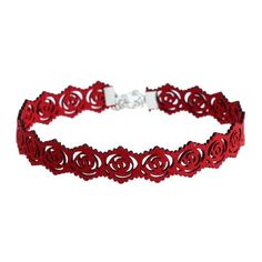 Faux Suede Hollow Out Rose Engraved Choker (12 BRL) ❤ liked on Polyvore featuring jewelry, necklaces, choker jewellery, engraved jewellery, red jewelry, rose jewelry and rosette necklace