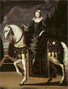 French School - Equestrian Portrait of Marie de Medici