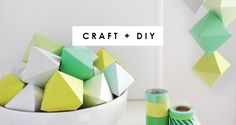 These DIY watercolour paper gems free printables make lovely modern decorations for your tree, tabletop or mantle, or you can make a garland with them.