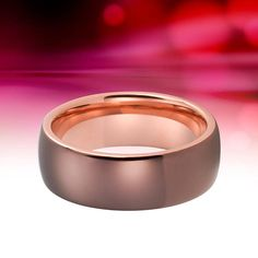 Tungsten Ring Rose Gold Wedding Band Brown Ring 8mm Tungsten Tungsten Mens Rings, Tungsten Carbide, Brown Rings, Gold Rings, Gold Wedding, Wedding Bands, Engagement Rings For Men, Rose Gold, Unique Jewelry