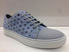 Pale blue Lanvin sneakers with over-sized perforations. Yes please!