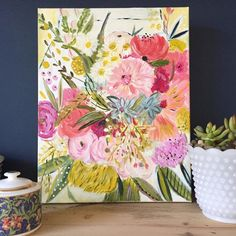 "Boho floral painting (""Microburst"") by Bari J. 24"" x 24"" Acrylic on Canvas Please allow three business days for your order to ship."