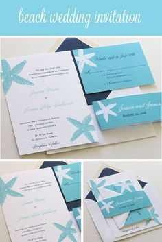 Affordable Thermography Wedding Invitations, Completely Customizable!  Starfish Wedding Invitation. Blush Paperie