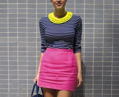stripes+neon pink+bright collar