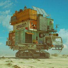 illustration design for artwork lover Arte Sci Fi, Sci Fi Art, Container Design, Container Truck, Cyberpunk, Cgi, Pop Art Poster, Framed Art Prints, Canvas Prints